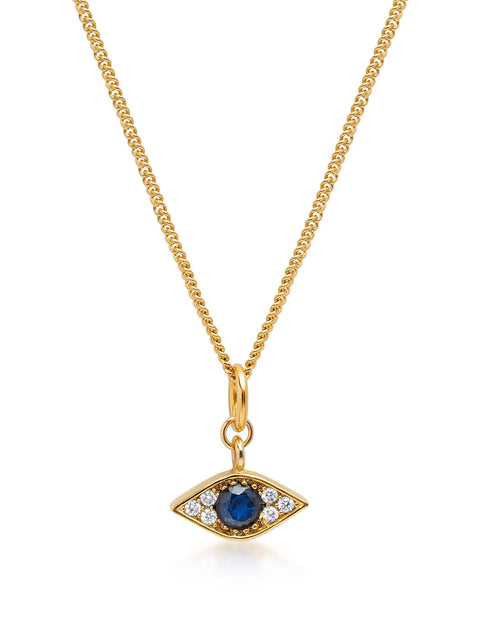 Women's Gold Necklace wit CZ Evil Eye Pendant