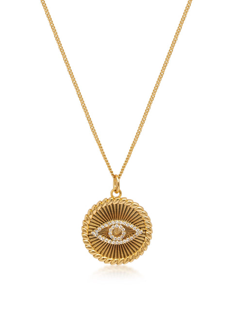 Women's Gold Necklace with CZ Evil Eye Coin Pendant - NIALAYA INC