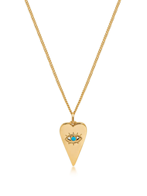 Women's Gold Necklace with Evil Eye Heart