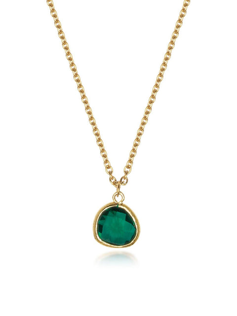 NIALAYA X JOHNNY EDLIND: Unisex Gold Necklace with Green Mini Pendant