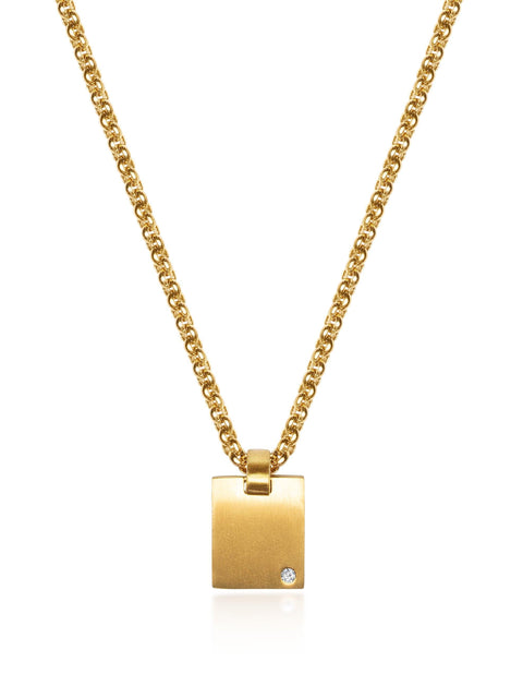 Men's Gold Mini Dog Tag with CZ - Nialaya Jewelry