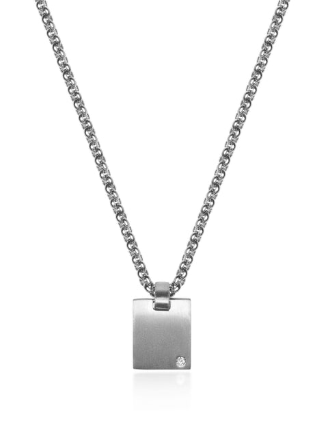 Men's Silver Mini Dog Tag with CZ - Nialaya Jewelry