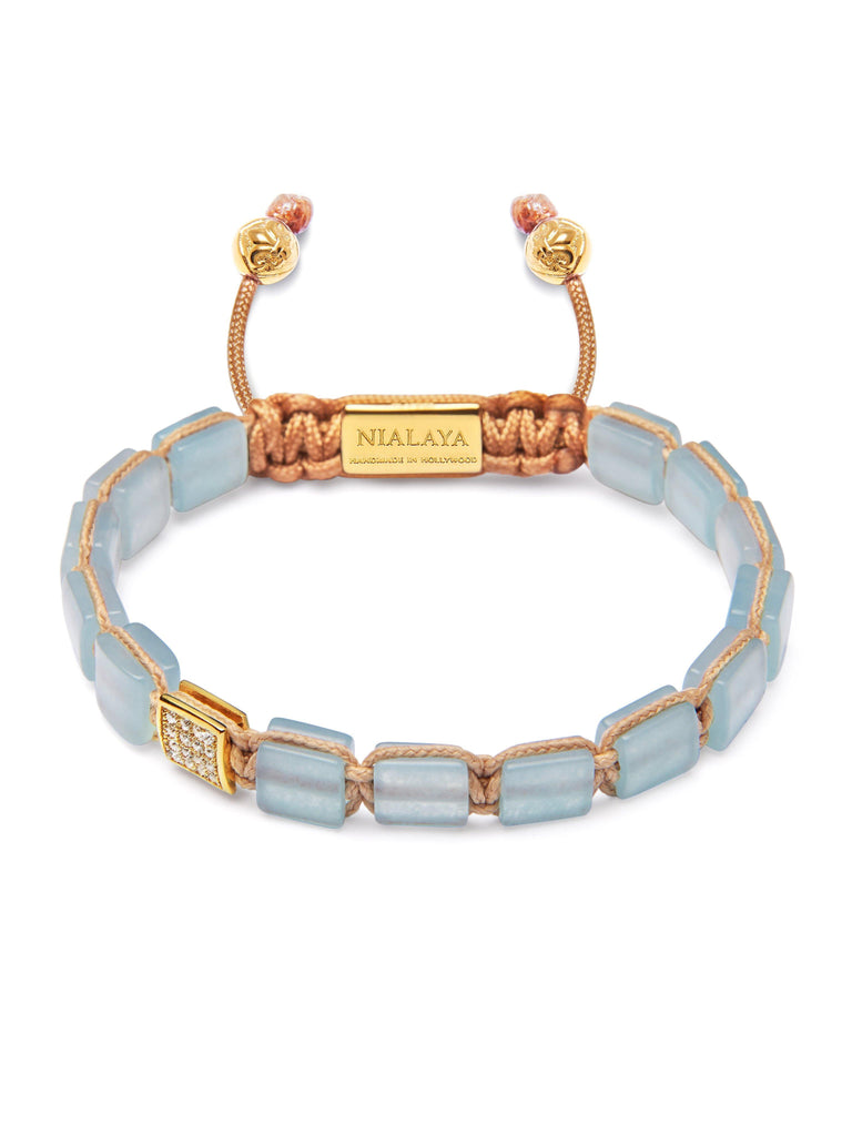 Women's Mini Flatbead Collection - Aquamarine and Gold
