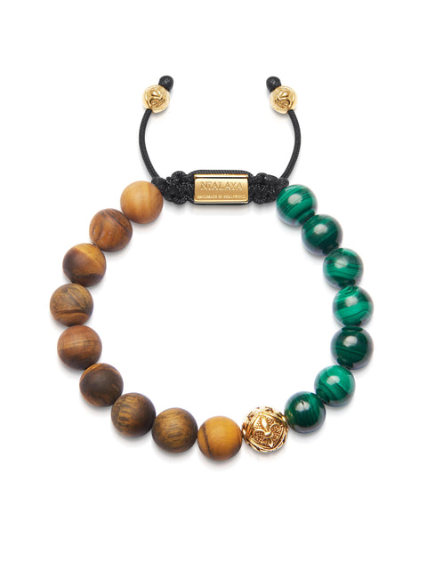 Men's Beaded Bracelet with Malachite and Matte Tiger Eye - Nialaya Jewelry