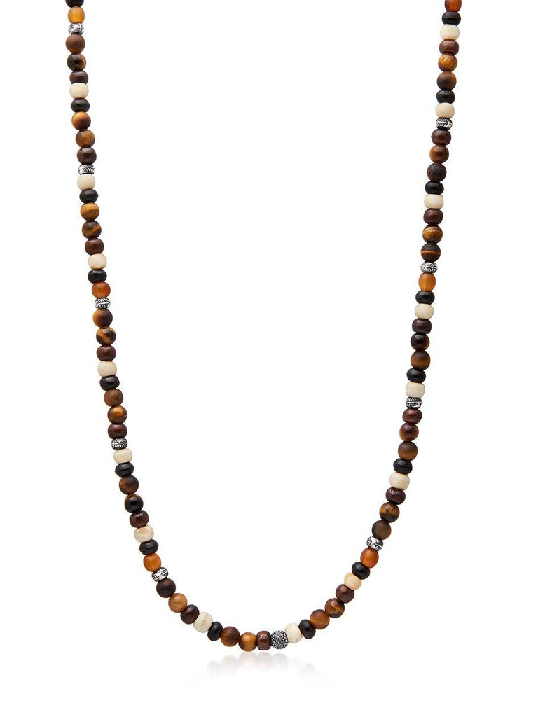 Men's Beaded Necklace with Brown Tiger Eye, Buffalo Beads and Silver Beads