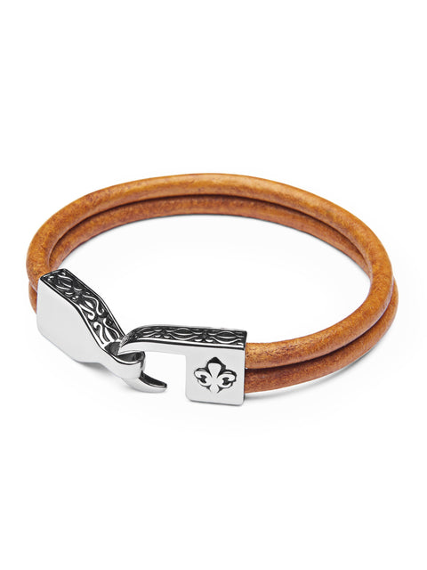 Men's Brown Leather Bracelet with Silver Fleur De Lis Lock