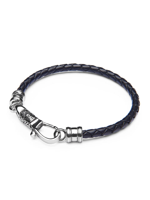 Men's Black Leather Bracelet with Silver Hook Clasp - Nialaya Jewelry