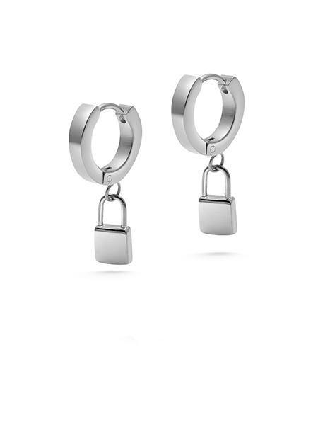 Lock Earrings in Silver