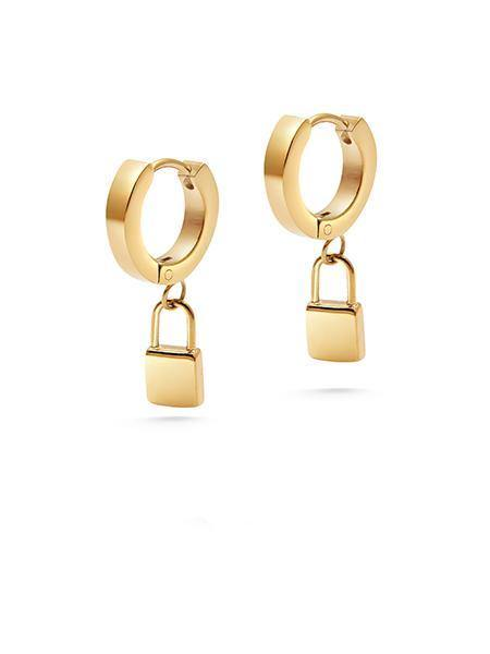 Lock Earrings in Gold - Nialaya Jewelry