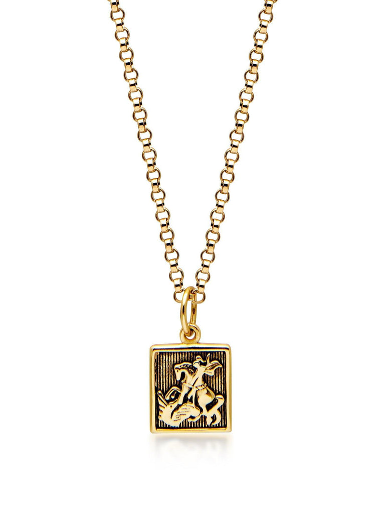 Men's Gold Necklace with Saint George and The Dragon Pendant