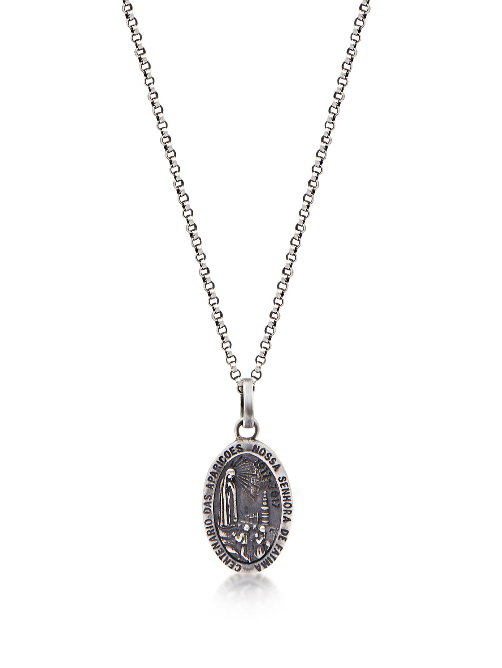 Women's Silver Necklace with Lady Of Fatima Amulet