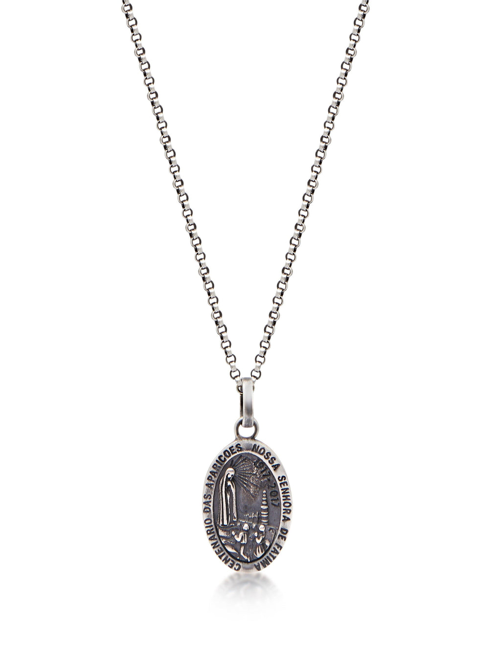 Men's Silver Necklace with Lady Of Fatima Amulet