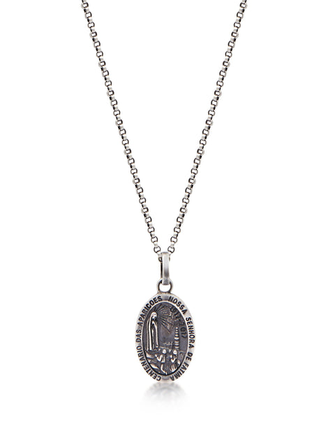 Men's Silver Necklace with Lady Of Fatima Amulet - Nialaya Jewelry