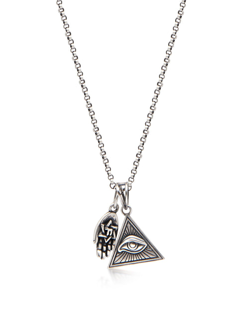 Men's Silver Necklace with Eye of Ra Triangle and Hamsa Hand Pendant
