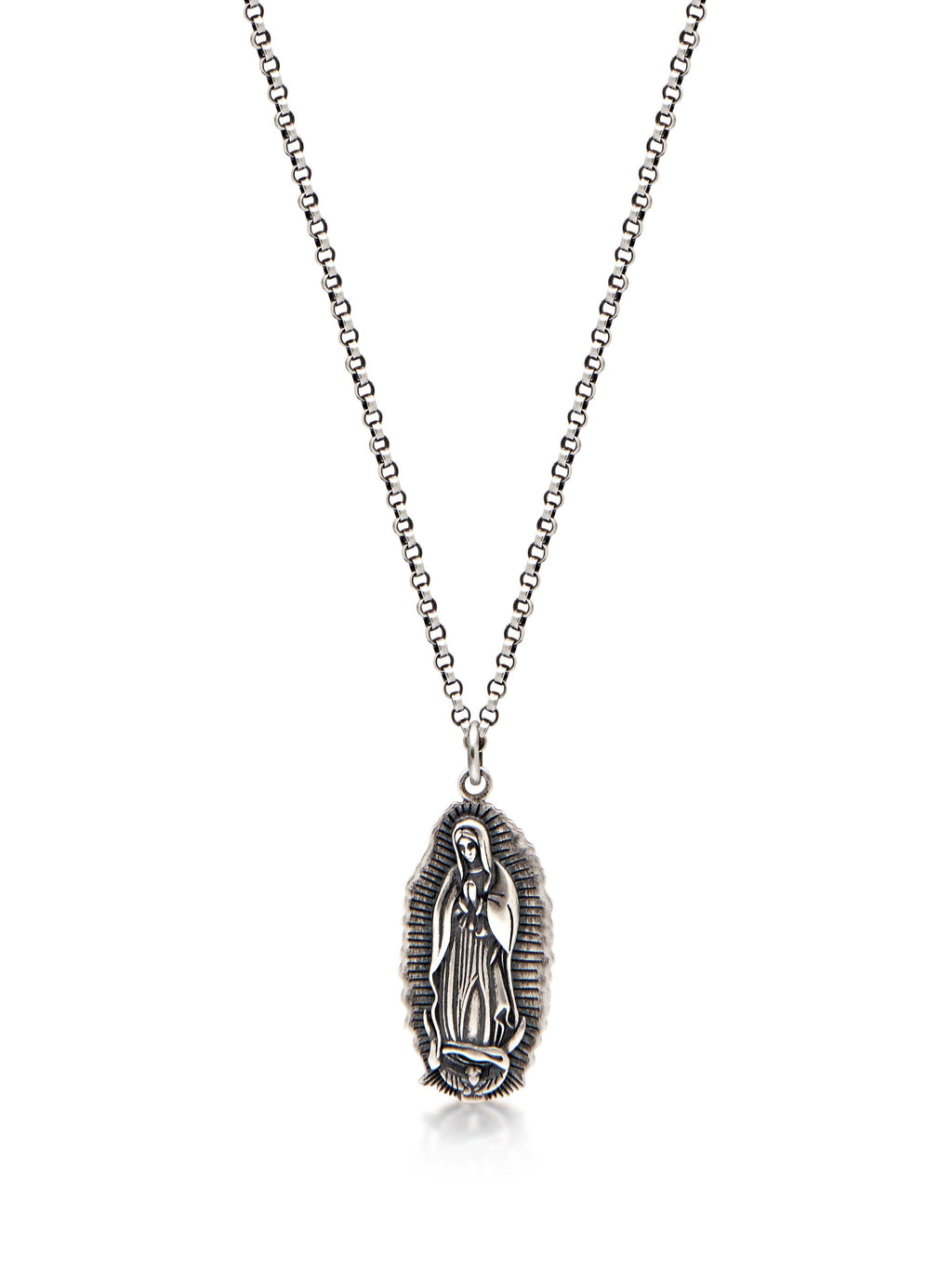 Men's Silver Necklace with Our Lady of Guadalupe Pendant