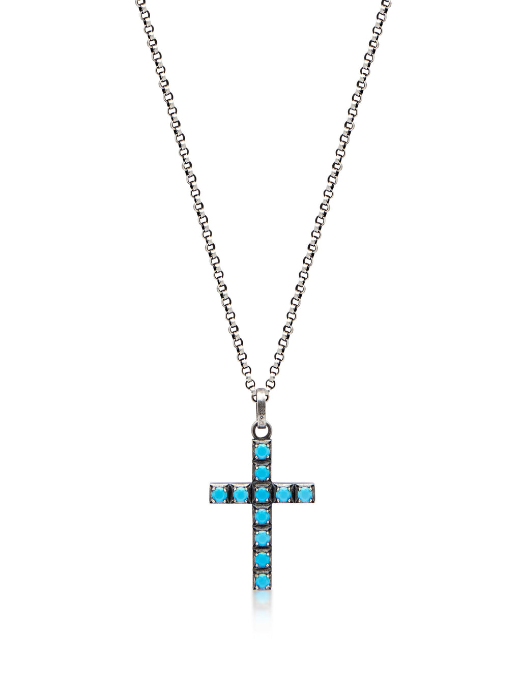 Women's Silver Necklace with Turquoise Cross Pendant