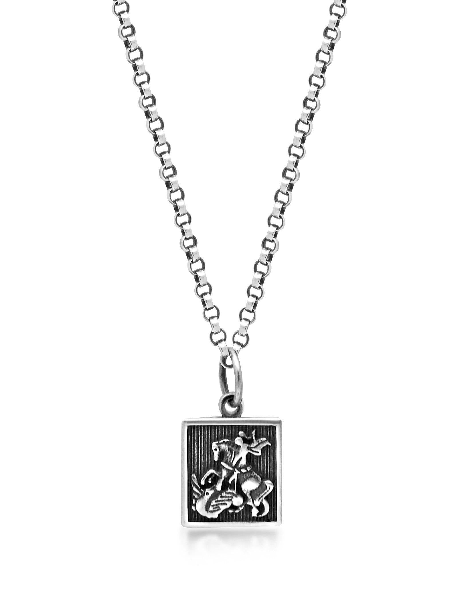 Men's Silver Necklace with Saint George and The Dragon Pendant - Nialaya Jewelry