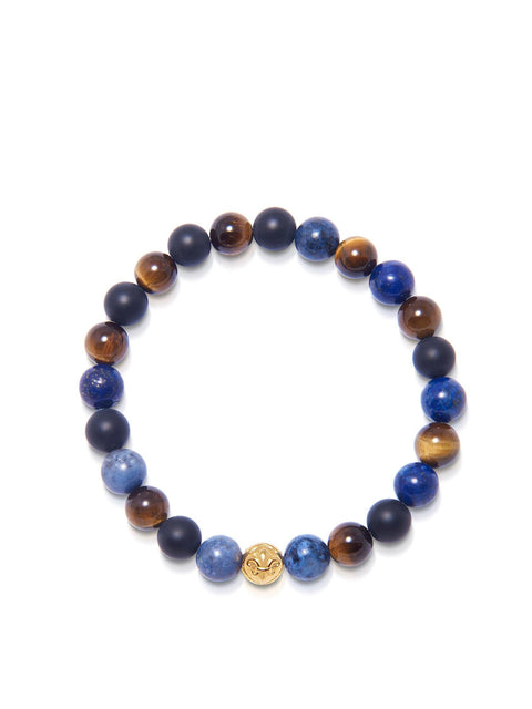 Men's Wristband with Blue Lapis, Brown Tiger Eye and Matte Onyx