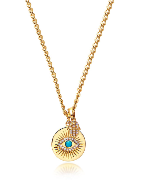 Skyfall Evil Eye and Hamsa Hand Necklace