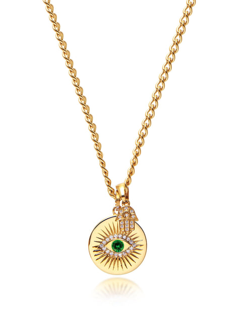 Skyfall Evil Eye and Hamsa Hand Necklace with Green Stone