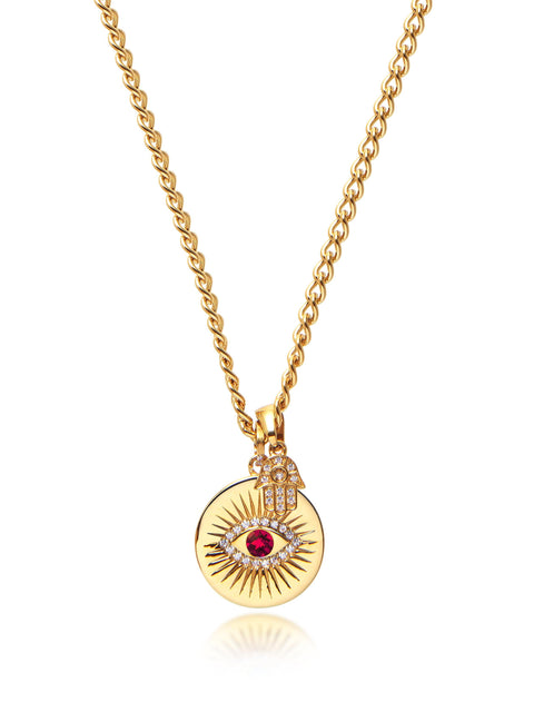 Skyfall Evil Eye and Hamsa Hand Necklace with Red Stone