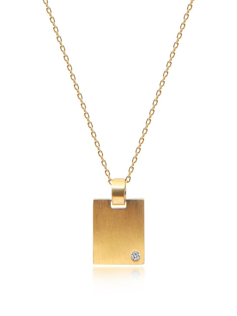 Skyfall Gold Dog Tag Necklace - Nialaya Jewelry