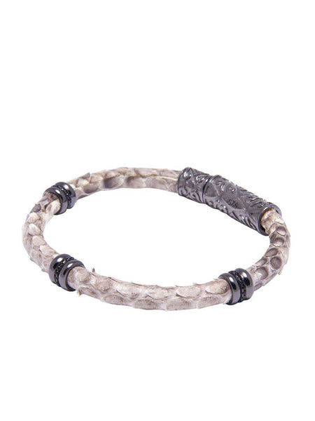 Men's Python Collection - Natural Python with Black Rhodium Ring Accents - Nialaya Jewelry  - 1