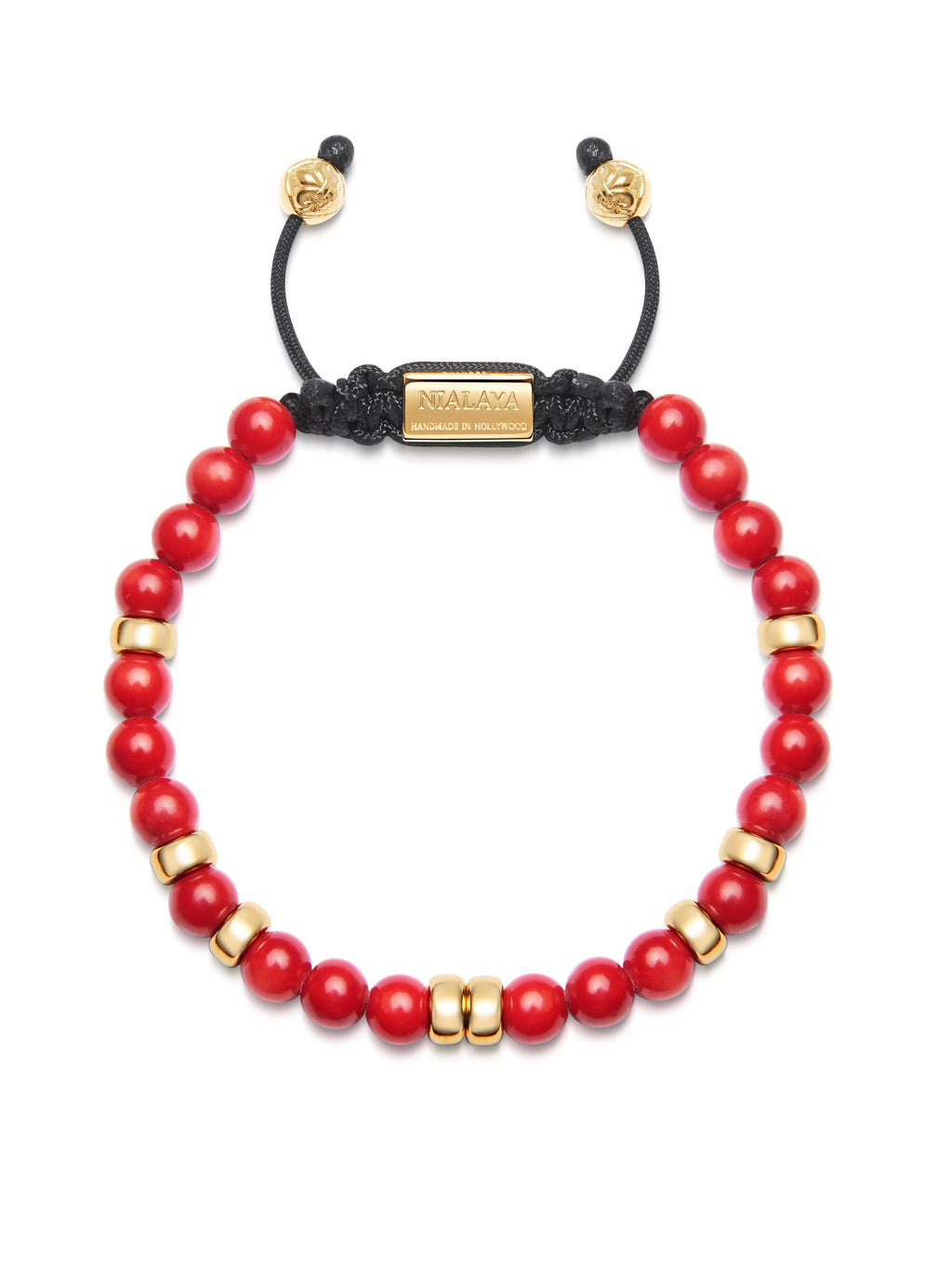 Men's Beaded Bracelet with Red Vintage Trifocal Beads and Gold