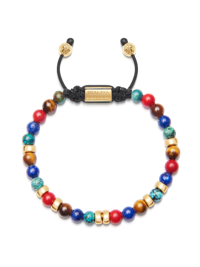 Men's Beaded Bracelet with Red Vintage Trifocal Beads, Blue Lapis, Bali Turquoise, Brown Tiger Eye and Gold