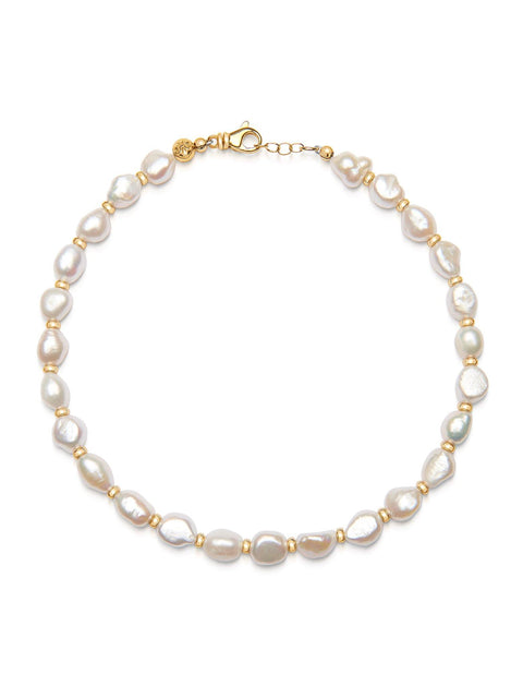 Men's Beaded Choker with Baroque White Pearls - Nialaya Jewelry