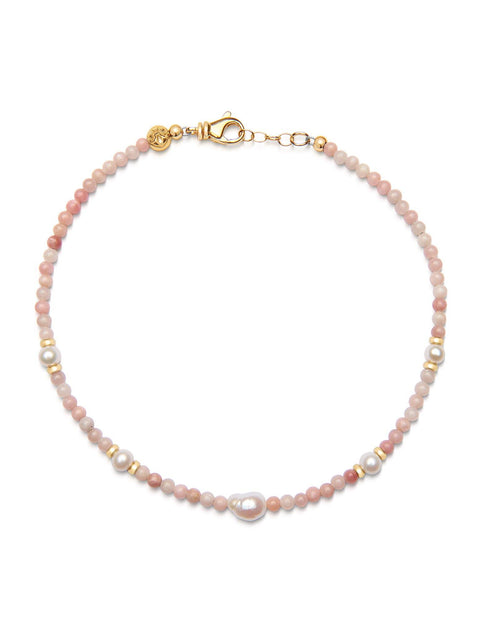Men's Beaded Choker with Pink Opal and Baroque White Pearl - Nialaya Jewelry