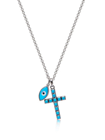 Men's Silver Necklace with Turquoise Cross and Evil Eye Pendant