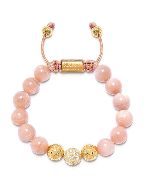 Women's Beaded Bracelet with Pink Moonstone and Gold CZ Diamond - Nialaya Jewelry