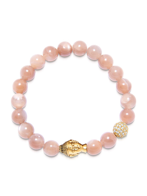 Women's Beaded Bracelet with Pink Moonstone and Gold Buddha