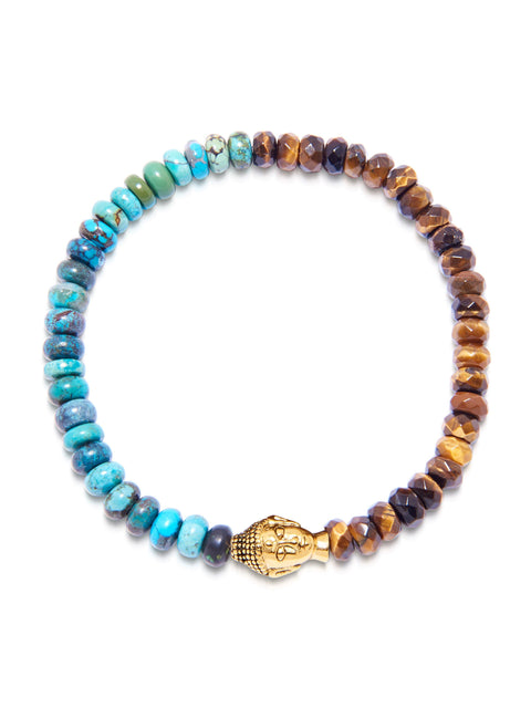 Men's Wristband with Bali Turquoise and Brown Tiger Eye with Gold Buddha