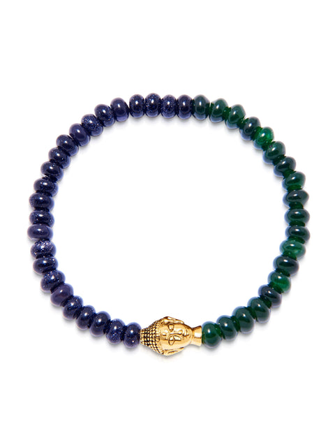 Men's Wristband with Blue and Green Glass Beads with Gold Buddha