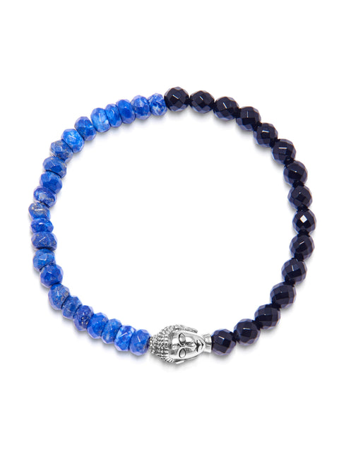 Men's Wristband with Light Blue and Dark Blue Glass Beads with Silver Buddha