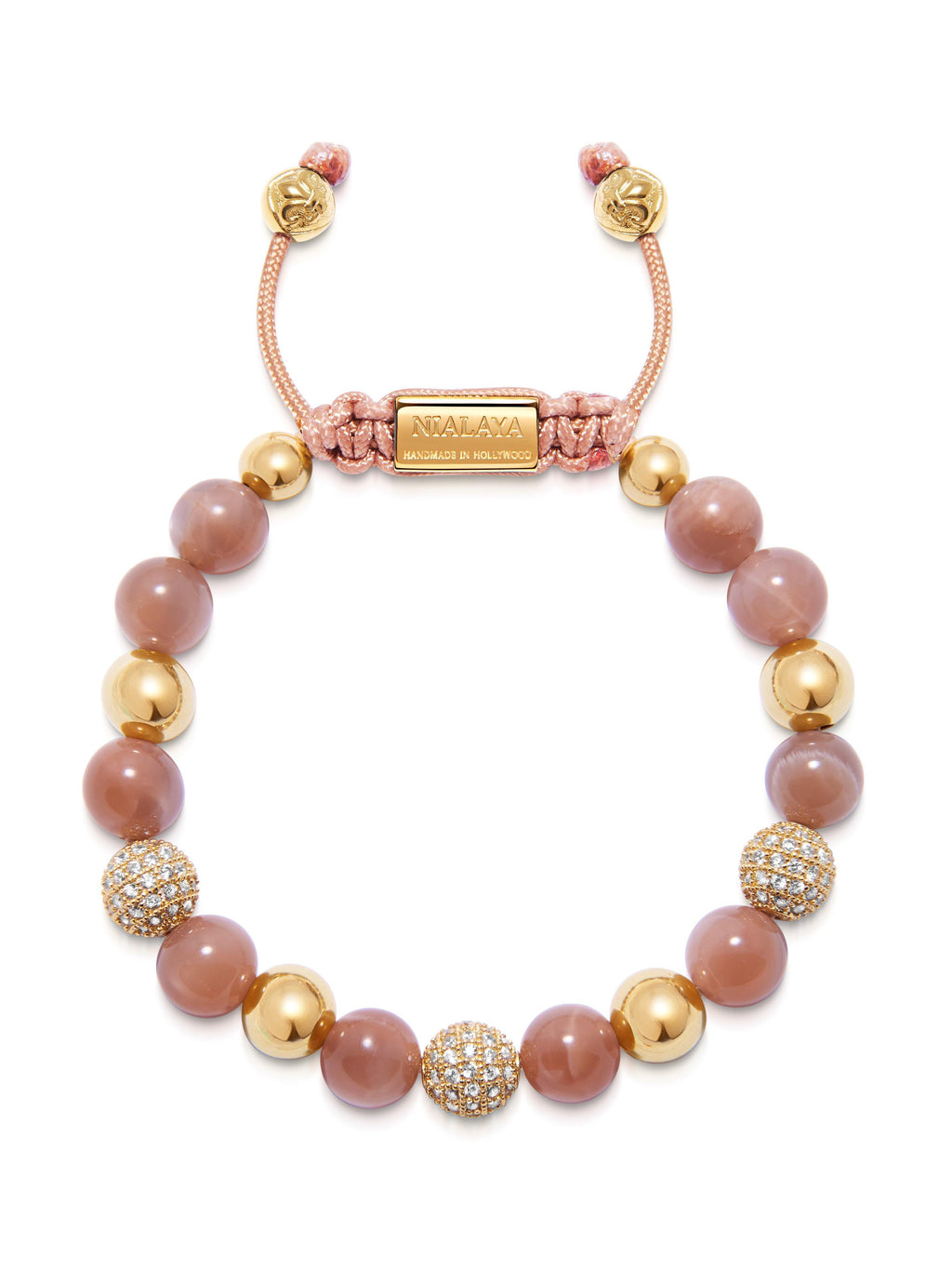 Women's Beaded Bracelet with Pink Moonstone and Gold CZ Diamonds