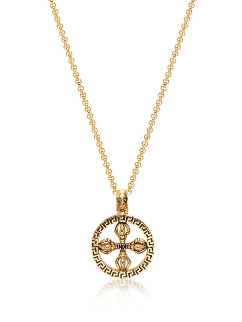 Men's Necklace with Gold Dorje Amulet