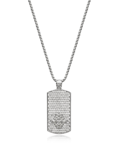 Men's Silver Dog Tag Necklace - NIALAYA INC