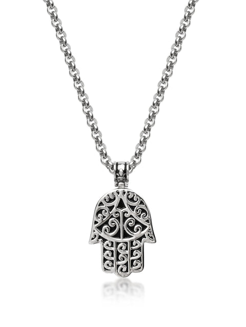Men's Silver Hamsa Hand Necklace
