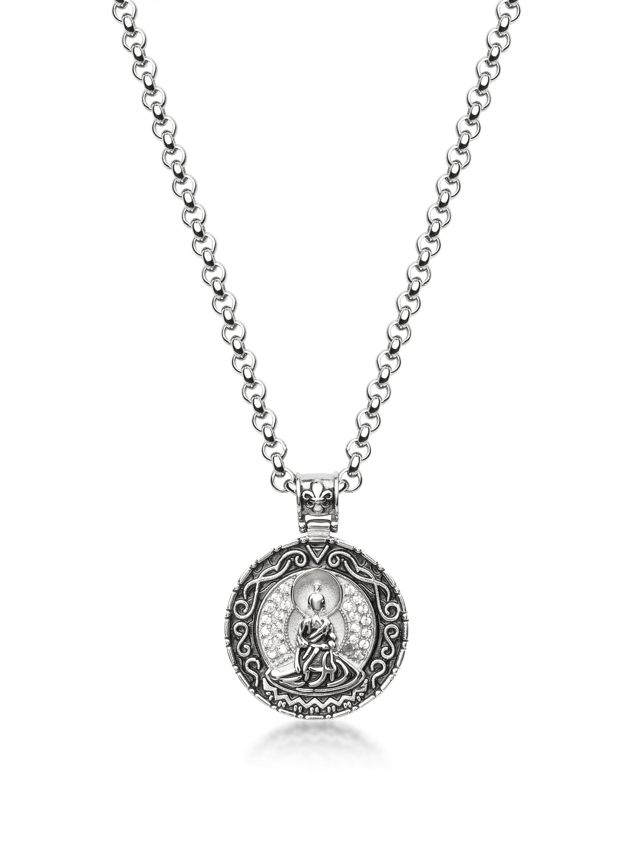 Men's Necklace with Silver Buddha Amulet - NIALAYA INC