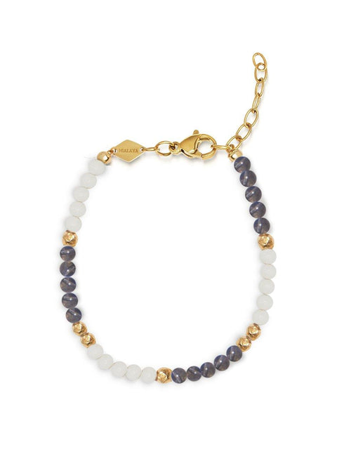 Women's Beaded Bracelet with White Coral and Labradorite - NIALAYA INC