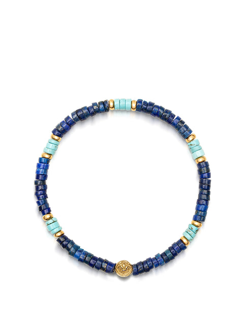Wristband with Blue Lapis, Bali Turquoise Heishi Beads and Gold