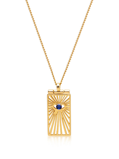 Women's Gold Necklace with Evil Eye Tag