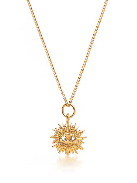 Women's Gold Necklace with Sunrise Evil Eye Pendant
