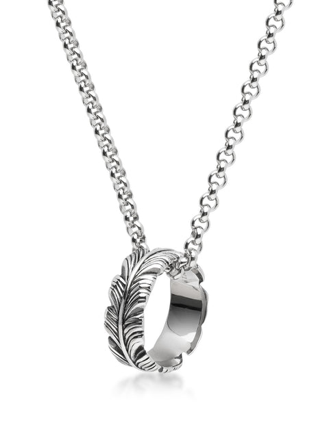 Men's Silver Necklace with Feather Ring