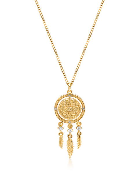 Women's Gold Necklace with Dream Catcher Pendant