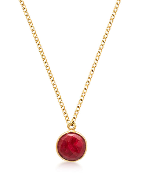 Women's Gold Necklace with Carnelian Pendant
