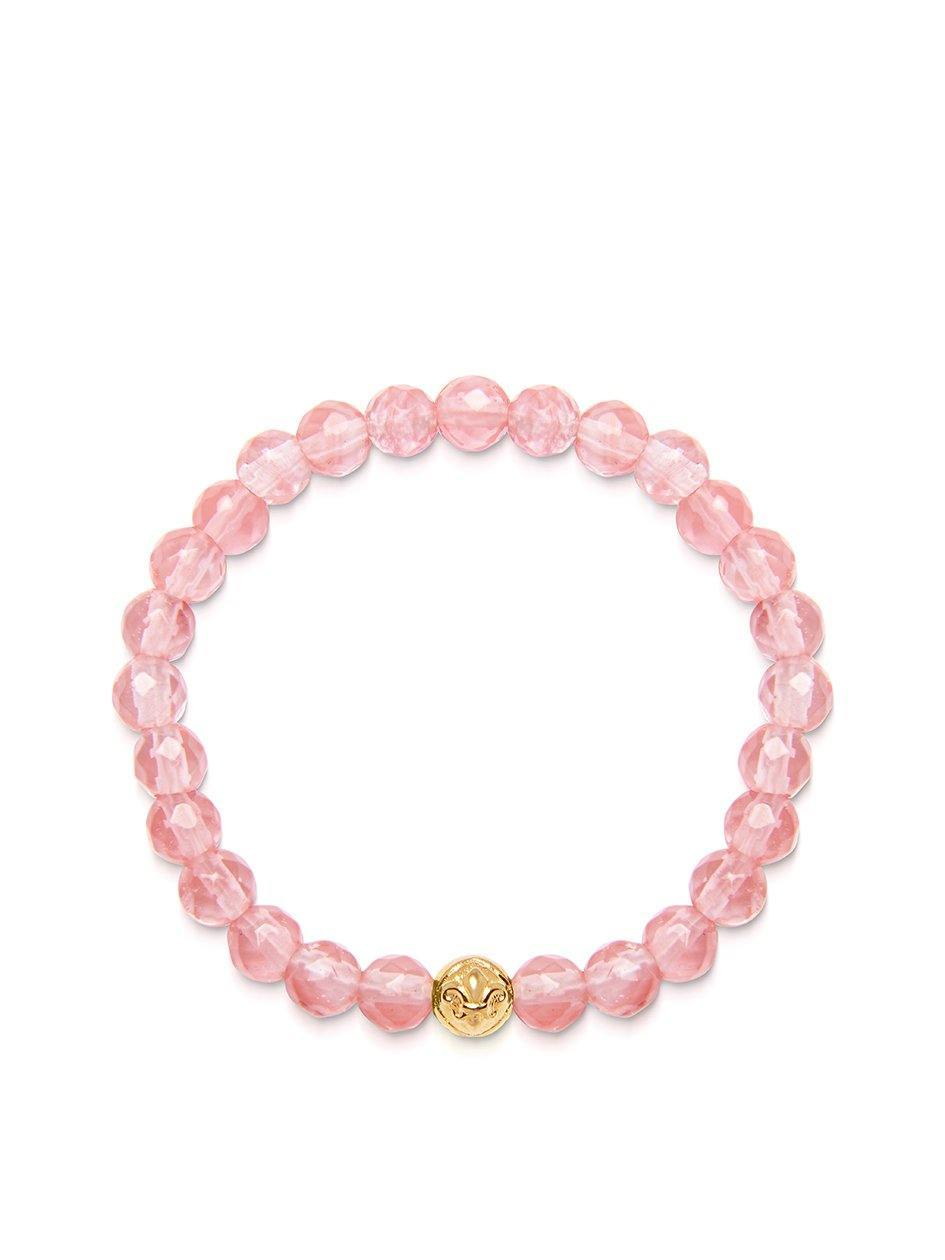 Women's Wristband with Cherry Quartz and Gold